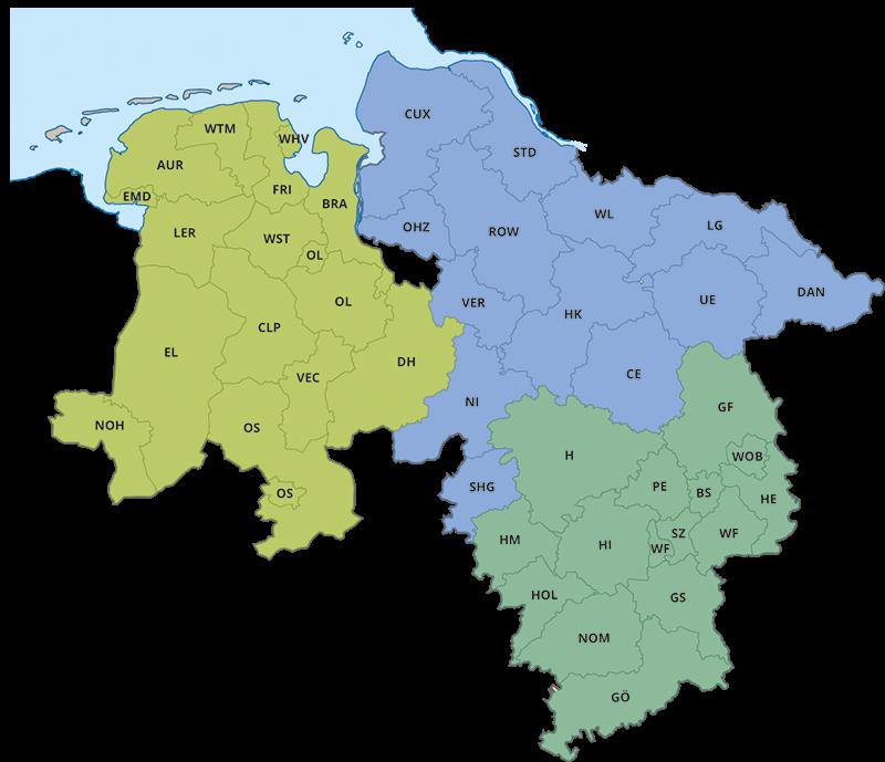 Eine Niedersachsen-Karte mit den Zuständigkeiten der Mobilen Beratung